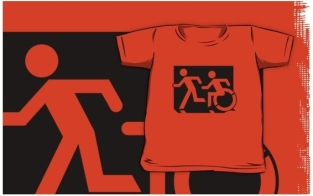 Accessible Exit Sign Project Wheelchair Wheelie Running Man Symbol Means of Egress Icon Disability Emergency Evacuation Fire Safety Kids T-shirt 199