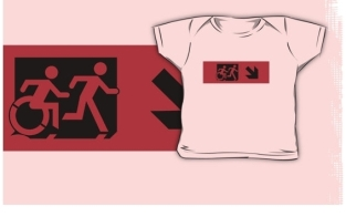 Accessible Exit Sign Project Wheelchair Wheelie Running Man Symbol Means of Egress Icon Disability Emergency Evacuation Fire Safety Kids T-shirt 20