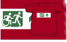Accessible Exit Sign Project Wheelchair Wheelie Running Man Symbol Means of Egress Icon Disability Emergency Evacuation Fire Safety Kids T-shirt 201