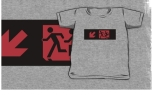 Accessible Exit Sign Project Wheelchair Wheelie Running Man Symbol Means of Egress Icon Disability Emergency Evacuation Fire Safety Kids T-shirt 203