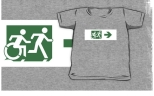 Accessible Exit Sign Project Wheelchair Wheelie Running Man Symbol Means of Egress Icon Disability Emergency Evacuation Fire Safety Kids T-shirt 204