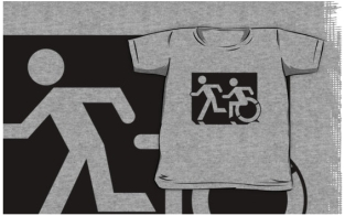 Accessible Exit Sign Project Wheelchair Wheelie Running Man Symbol Means of Egress Icon Disability Emergency Evacuation Fire Safety Kids T-shirt 205