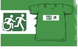 Accessible Exit Sign Project Wheelchair Wheelie Running Man Symbol Means of Egress Icon Disability Emergency Evacuation Fire Safety Kids T-shirt 207