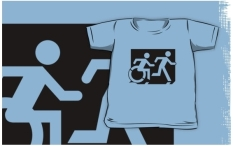 Accessible Exit Sign Project Wheelchair Wheelie Running Man Symbol Means of Egress Icon Disability Emergency Evacuation Fire Safety Kids T-shirt 214