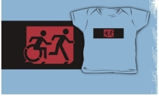 Accessible Exit Sign Project Wheelchair Wheelie Running Man Symbol Means of Egress Icon Disability Emergency Evacuation Fire Safety Kids T-shirt 215