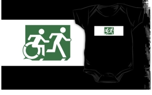 Accessible Exit Sign Project Wheelchair Wheelie Running Man Symbol Means of Egress Icon Disability Emergency Evacuation Fire Safety Kids T-shirt 216