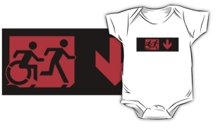 Accessible Exit Sign Project Wheelchair Wheelie Running Man Symbol Means of Egress Icon Disability Emergency Evacuation Fire Safety Kids T-shirt 218