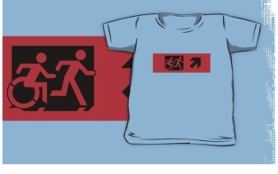Accessible Exit Sign Project Wheelchair Wheelie Running Man Symbol Means of Egress Icon Disability Emergency Evacuation Fire Safety Kids T-shirt 22