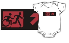 Accessible Exit Sign Project Wheelchair Wheelie Running Man Symbol Means of Egress Icon Disability Emergency Evacuation Fire Safety Kids T-shirt 221