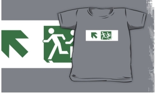 Accessible Exit Sign Project Wheelchair Wheelie Running Man Symbol Means of Egress Icon Disability Emergency Evacuation Fire Safety Kids T-shirt 222
