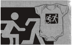 Accessible Exit Sign Project Wheelchair Wheelie Running Man Symbol Means of Egress Icon Disability Emergency Evacuation Fire Safety Kids T-shirt 223