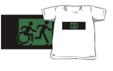 Accessible Exit Sign Project Wheelchair Wheelie Running Man Symbol Means of Egress Icon Disability Emergency Evacuation Fire Safety Kids T-shirt 224