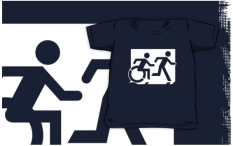 Accessible Exit Sign Project Wheelchair Wheelie Running Man Symbol Means of Egress Icon Disability Emergency Evacuation Fire Safety Kids T-shirt 226
