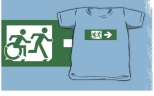 Accessible Exit Sign Project Wheelchair Wheelie Running Man Symbol Means of Egress Icon Disability Emergency Evacuation Fire Safety Kids T-shirt 23