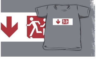 Accessible Exit Sign Project Wheelchair Wheelie Running Man Symbol Means of Egress Icon Disability Emergency Evacuation Fire Safety Kids T-shirt 237