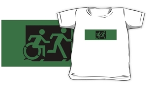 Accessible Exit Sign Project Wheelchair Wheelie Running Man Symbol Means of Egress Icon Disability Emergency Evacuation Fire Safety Kids T-shirt 244