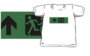 Accessible Exit Sign Project Wheelchair Wheelie Running Man Symbol Means of Egress Icon Disability Emergency Evacuation Fire Safety Kids T-shirt 246