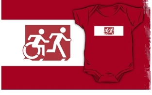 Accessible Exit Sign Project Wheelchair Wheelie Running Man Symbol Means of Egress Icon Disability Emergency Evacuation Fire Safety Kids T-shirt 247