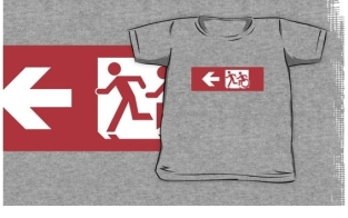 Accessible Exit Sign Project Wheelchair Wheelie Running Man Symbol Means of Egress Icon Disability Emergency Evacuation Fire Safety Kids T-shirt 249