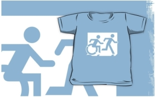 Accessible Exit Sign Project Wheelchair Wheelie Running Man Symbol Means of Egress Icon Disability Emergency Evacuation Fire Safety Kids T-shirt 250