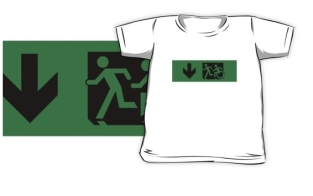 Accessible Exit Sign Project Wheelchair Wheelie Running Man Symbol Means of Egress Icon Disability Emergency Evacuation Fire Safety Kids T-shirt 257