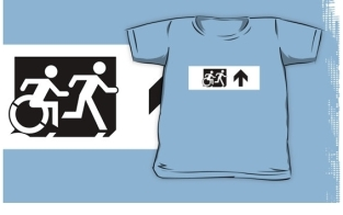 Accessible Exit Sign Project Wheelchair Wheelie Running Man Symbol Means of Egress Icon Disability Emergency Evacuation Fire Safety Kids T-shirt 261