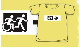 Accessible Exit Sign Project Wheelchair Wheelie Running Man Symbol Means of Egress Icon Disability Emergency Evacuation Fire Safety Kids T-shirt 263