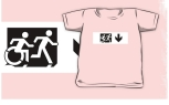 Accessible Exit Sign Project Wheelchair Wheelie Running Man Symbol Means of Egress Icon Disability Emergency Evacuation Fire Safety Kids T-shirt 269
