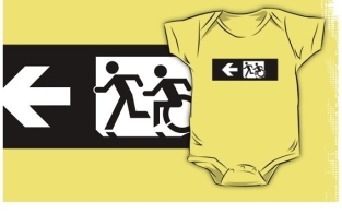 Accessible Exit Sign Project Wheelchair Wheelie Running Man Symbol Means of Egress Icon Disability Emergency Evacuation Fire Safety Kids T-shirt 270