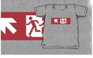 Accessible Exit Sign Project Wheelchair Wheelie Running Man Symbol Means of Egress Icon Disability Emergency Evacuation Fire Safety Kids T-shirt 272