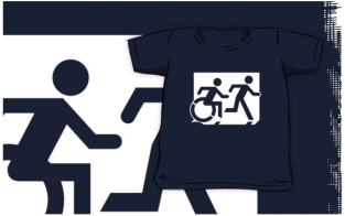 Accessible Exit Sign Project Wheelchair Wheelie Running Man Symbol Means of Egress Icon Disability Emergency Evacuation Fire Safety Kids T-shirt 273