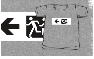 Accessible Exit Sign Project Wheelchair Wheelie Running Man Symbol Means of Egress Icon Disability Emergency Evacuation Fire Safety Kids T-shirt 278