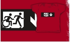 Accessible Exit Sign Project Wheelchair Wheelie Running Man Symbol Means of Egress Icon Disability Emergency Evacuation Fire Safety Kids T-shirt 279