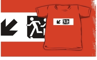Accessible Exit Sign Project Wheelchair Wheelie Running Man Symbol Means of Egress Icon Disability Emergency Evacuation Fire Safety Kids T-shirt 284