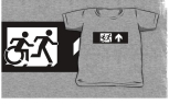 Accessible Exit Sign Project Wheelchair Wheelie Running Man Symbol Means of Egress Icon Disability Emergency Evacuation Fire Safety Kids T-shirt 287