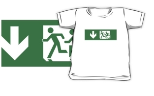 Accessible Exit Sign Project Wheelchair Wheelie Running Man Symbol Means of Egress Icon Disability Emergency Evacuation Fire Safety Kids T-shirt 291