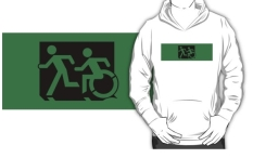Accessible Exit Sign Project Wheelchair Wheelie Running Man Symbol Means of Egress Icon Disability Emergency Evacuation Fire Safety Kids T-shirt 3