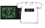 Accessible Exit Sign Project Wheelchair Wheelie Running Man Symbol Means of Egress Icon Disability Emergency Evacuation Fire Safety Kids T-shirt 31