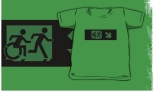Accessible Exit Sign Project Wheelchair Wheelie Running Man Symbol Means of Egress Icon Disability Emergency Evacuation Fire Safety Kids T-shirt 37