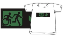 Accessible Exit Sign Project Wheelchair Wheelie Running Man Symbol Means of Egress Icon Disability Emergency Evacuation Fire Safety Kids T-shirt 39
