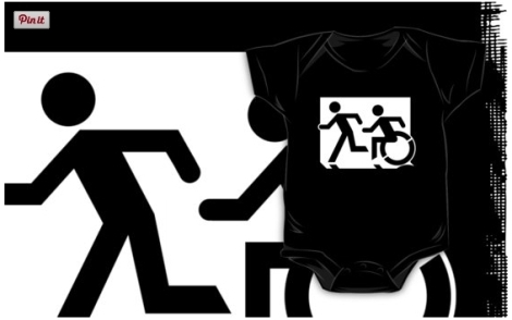 Accessible Exit Sign Project Wheelchair Wheelie Running Man Symbol Means of Egress Icon Disability Emergency Evacuation Fire Safety Kids T-shirt 4