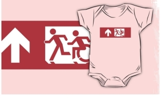 Accessible Exit Sign Project Wheelchair Wheelie Running Man Symbol Means of Egress Icon Disability Emergency Evacuation Fire Safety Kids T-shirt 40