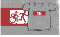 Accessible Exit Sign Project Wheelchair Wheelie Running Man Symbol Means of Egress Icon Disability Emergency Evacuation Fire Safety Kids T-shirt 42