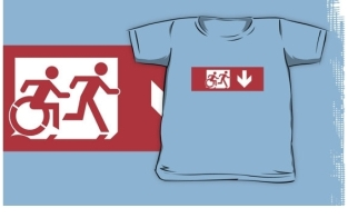 Accessible Exit Sign Project Wheelchair Wheelie Running Man Symbol Means of Egress Icon Disability Emergency Evacuation Fire Safety Kids T-shirt 44