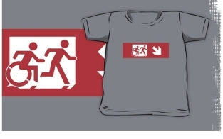 Accessible Exit Sign Project Wheelchair Wheelie Running Man Symbol Means of Egress Icon Disability Emergency Evacuation Fire Safety Kids T-shirt 46
