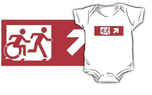 Accessible Exit Sign Project Wheelchair Wheelie Running Man Symbol Means of Egress Icon Disability Emergency Evacuation Fire Safety Kids T-shirt 48