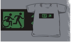 Accessible Exit Sign Project Wheelchair Wheelie Running Man Symbol Means of Egress Icon Disability Emergency Evacuation Fire Safety Kids T-shirt 5
