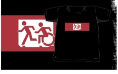 Accessible Exit Sign Project Wheelchair Wheelie Running Man Symbol Means of Egress Icon Disability Emergency Evacuation Fire Safety Kids T-shirt 52