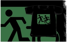 Accessible Exit Sign Project Wheelchair Wheelie Running Man Symbol Means of Egress Icon Disability Emergency Evacuation Fire Safety Kids T-shirt 53