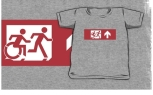 Accessible Exit Sign Project Wheelchair Wheelie Running Man Symbol Means of Egress Icon Disability Emergency Evacuation Fire Safety Kids T-shirt 55